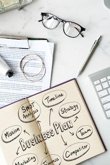 Geschäftsplan in ein notizbuch geschrieben