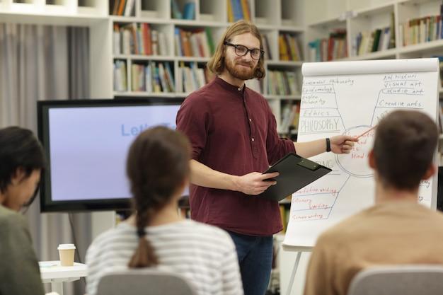 Geschäftspräsentation in der bibliothek