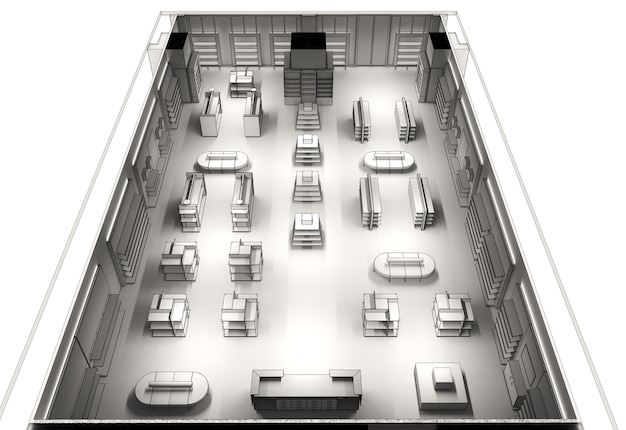 Geschäftsräume, geschäft, innenvisualisierung, 3d-illustration