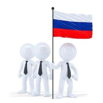 Geschäftsteam, das flagge von russland hält. isoliert. enthält einen beschneidungspfad