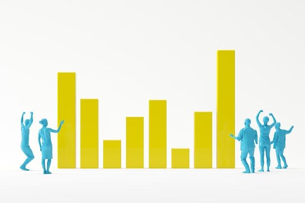 Geschäftsteam, das glücklich sich fühlt, hohes diagramm succuess betrachtend