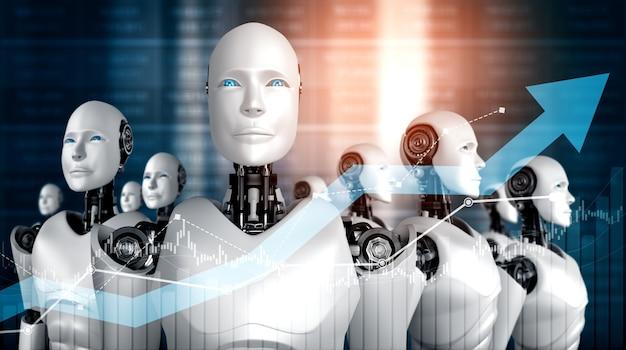 Geschäftswachstumskonzept unter verwendung von ki-roboter- und maschineller lerntechnologie