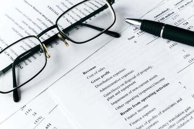 Geschäftszusammensetzung. finanzanalyse - gewinn- und verlustrechnung