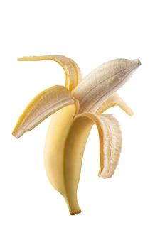 Geschälte banane. auf dem stapel fotografiert. gute, detaillierte fotobearbeitung.