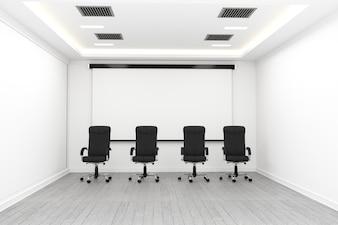Geschäftsinnenraum mit Stühlen und Anlagen und Bretterboden auf der weißen Wand leer. 3D Renderin