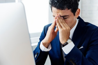 Geschäftsmann Stress Hands Gesture Concept