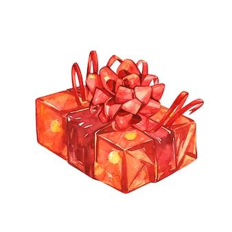 Geschenk mit großer roter schleife. satz aquarellillustrationen des weihnachtsdekors. symbol für frohe weihnachten.
