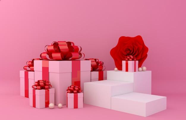 Geschenkbox-anzeigenhintergrund für produktpräsentation