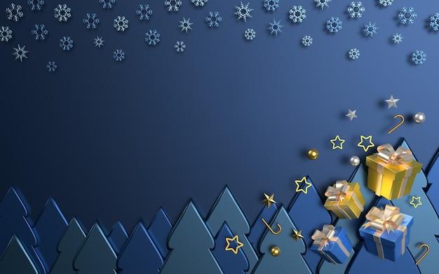 Geschenkbox auf blauem hintergrund der weihnachtsbäume