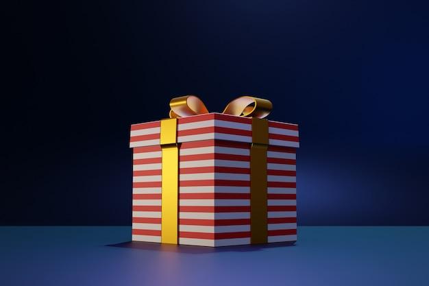Geschenkbox auf dunklem hintergrund. urlaubsattribute, geschenkset.