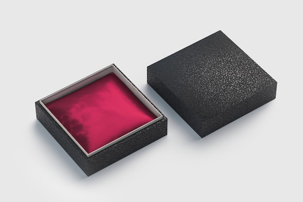 Geschenkbox aus schwarzem lederschmuck und rot-lila kissen innen für branding und identität - isoliert
