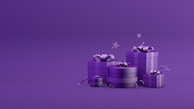Geschenkbox banner online-shopping promo-verkauf 3d-rendering