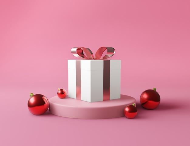 Geschenkbox des weißen quadrats und metallischer goldener bogenbandkonzept-rosahintergrund