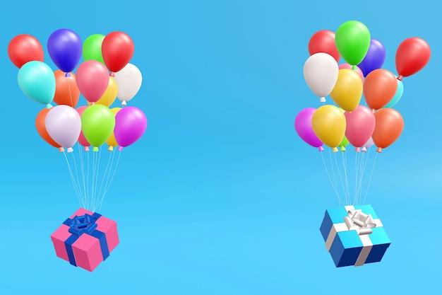 Geschenkbox, die durch luftballons auf blauem pastellhintergrund, 3d-wiedergabe schwimmt.