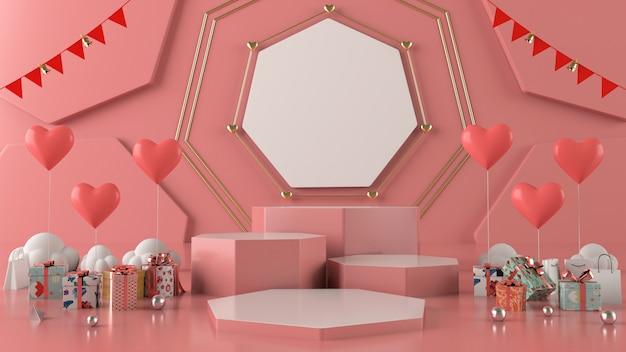 Geschenkbox herz schwimmende karte hintergrund liebe valentinstag konzept 3d-rendering