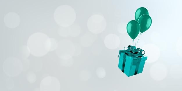 Geschenkbox-hintergrundbild mit luftballons, die auf bokeh hintergrund schwimmen.