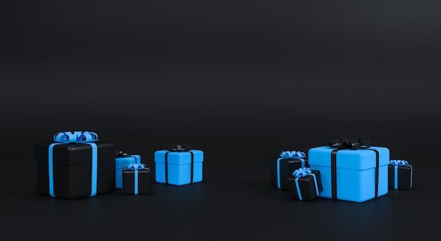 Geschenkbox mit band auf schwarzem hintergrund. minimales konzept. 3d-rendering