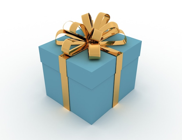 Geschenkbox mit bögen, isoliert auf weiss. 3d-rendering.