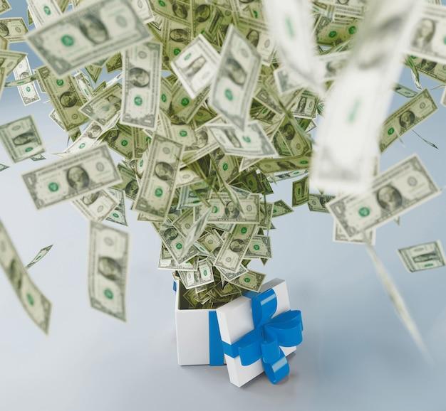 Geschenkbox mit dollar-banknote, 3d-rendering-darstellung