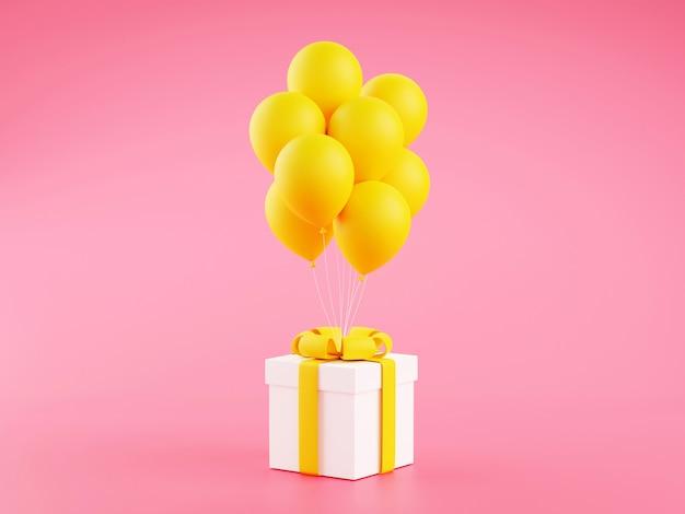 Geschenkbox mit gelbem band und luftballons auf rosa hintergrund - 3d illustration für geburtstags- oder jubiläumsglückwunsch. verziertes geschenkpaket mit fliegendem ballon.