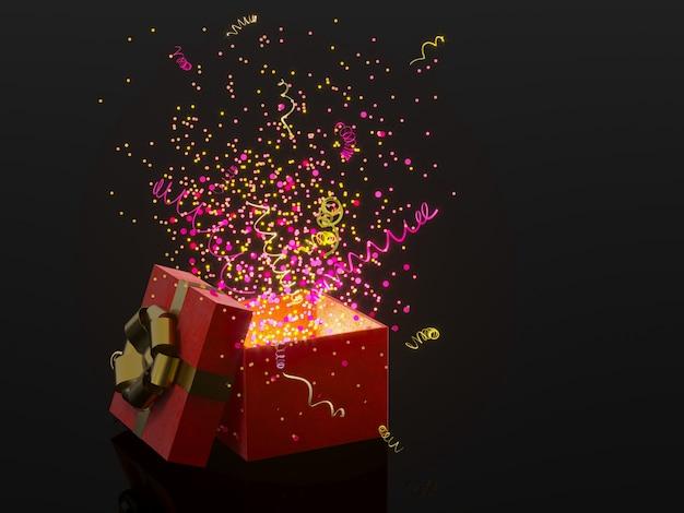Geschenkbox mit goldenem bogen auf schwarzem hintergrund mit dekoration und scheinparteikonfettis, ausläufer. festliches oder anwesendes konzept der wiedergabe 3d.