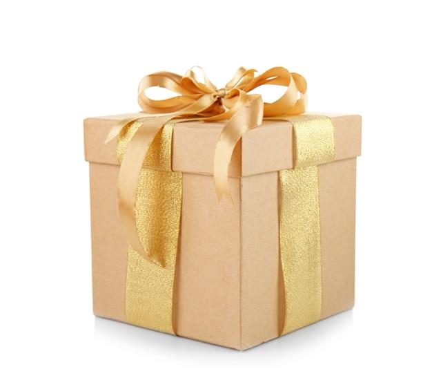 Geschenkbox mit goldener schleife isoliert