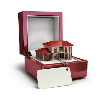 Geschenkbox mit haus. immobilienkonzept. 3d-rendering
