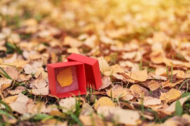 Geschenkbox mit herbstblatt. saisonende-konzept, speicherplatz kopieren. symbol für die änderung der wettervorhersage