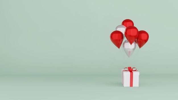Geschenkbox mit luftballons 3d rendern