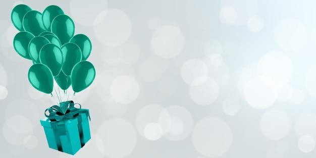Geschenkbox mit luftballons, die auf bokehhintergrund-weihnachtstag der liebe und der feier schwimmen