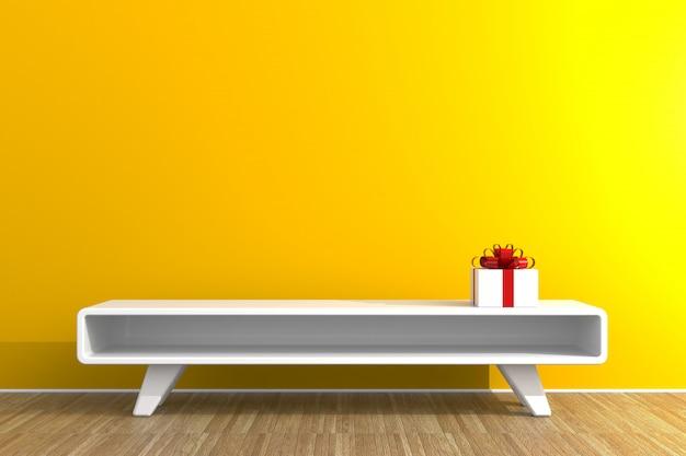 Geschenkbox mit rotem band im wohnzimmer auf hölzerner tabelle, weiße geschenkbox auf gelbem wandhintergrund