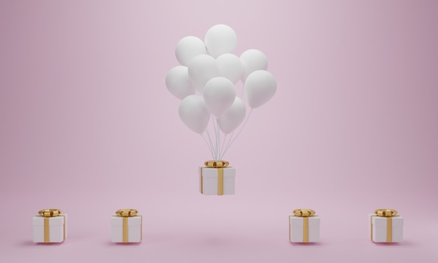 Geschenkbox mit weißem ballon, der auf rosa hintergrund schwimmt. minimales konzept. 3d-rendering Premium Fotos