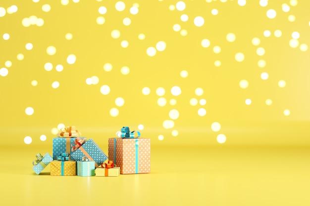 Geschenkbox set auf gelbem farbhintergrund mit beleuchtung bokeh hintergrund. 3d-rendering. minimales weihnachts-neujahrskonzept. selektiver fokus.