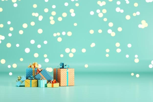 Geschenkbox set auf grünem pastellfarbenhintergrund mit beleuchtung bokeh hintergrund. 3d-rendering. minimales weihnachts-neujahrskonzept. selektiver fokus.