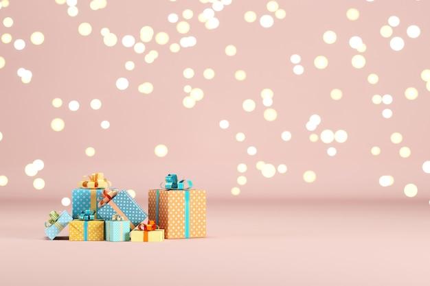 Geschenkbox set auf rosa farbe hintergrund mit beleuchtung bokeh hintergrund. 3d-rendering. minimales weihnachts-neujahrskonzept. selektiver fokus.