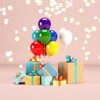 Geschenkbox set mit buntem ballon auf rosa farbe hintergrund mit beleuchtung bokeh hintergrund. 3d-rendering. minimales weihnachts-neujahrskonzept. selektiver fokus.
