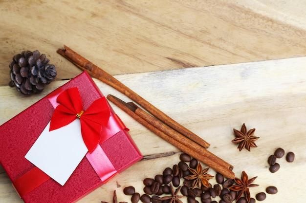 Geschenkbox und rustikale dekorationen