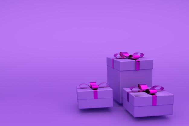 Geschenkboxen aus violettem papier, mit schleife verziert. grußkarte, kopie copyspace, 3d geschenk auf einem lila gesetzt