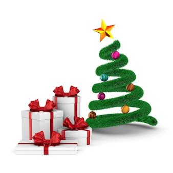 Geschenkboxen mit roter schleife und weihnachtsbaum auf weiß. isolierte 3d-illustration