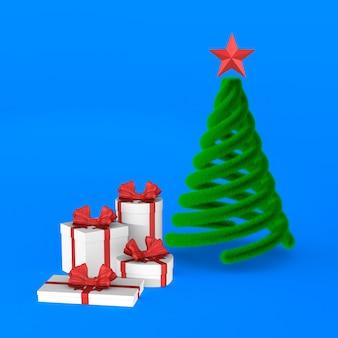 Geschenkboxen mit roter schleife und weihnachtsbaum. isoliertes 3d-rendering