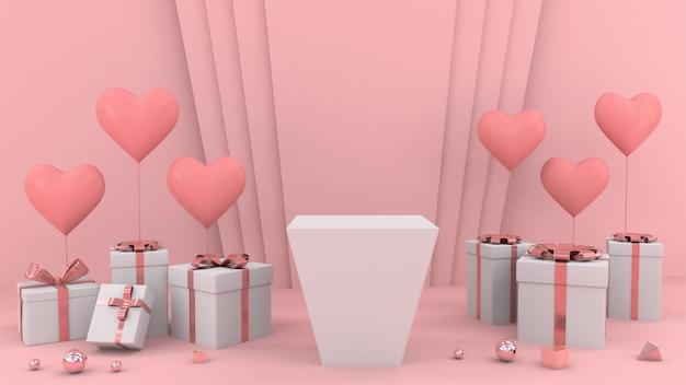 Geschenke mit herzformballons und weißem leerem podium