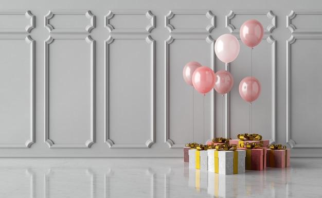 Geschenke mit luftballons und leerer wand