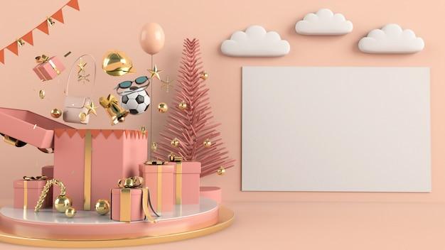 Geschenke und zubehör auf einem podium mit leerem rahmen auf einer weichen rosa wand