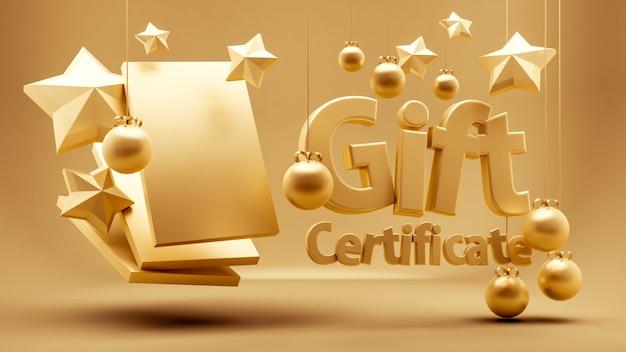 Geschenkgutschein, zertifikat, neujahr, weihnachten, feiertag. 3d-rendering.