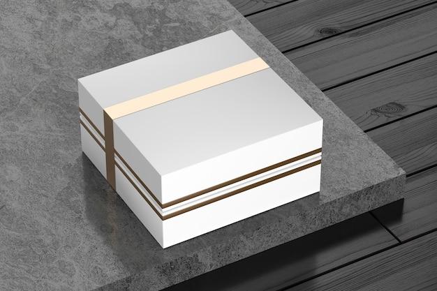 Geschenkkarton aus weißem karton mockup für branding und identität