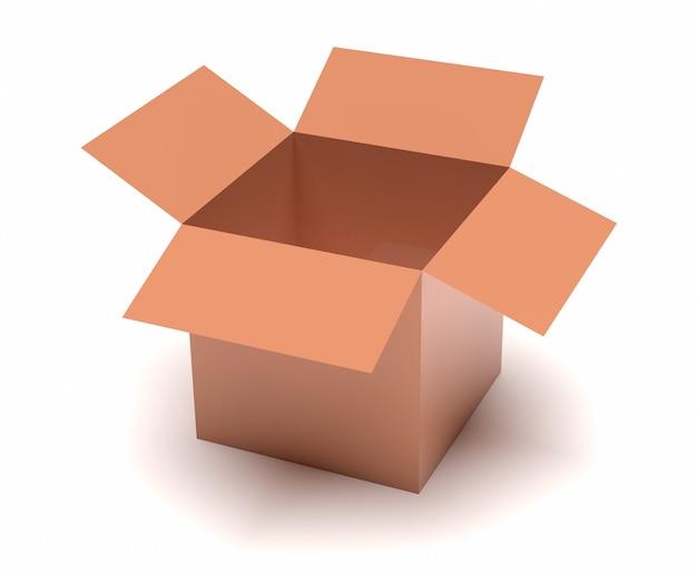 Geschenkkonzept. offene braune box isoliert auf weiß