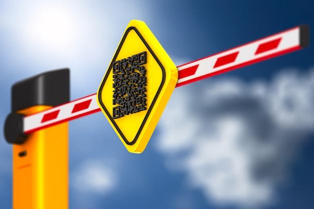 Geschlossene automatische barriere mit qr-code auf weiß.