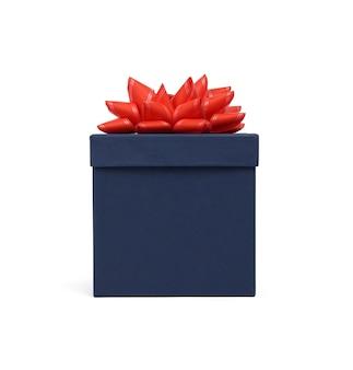 Geschlossene blaue pappschachtel mit deckel für geschenke lokalisiert auf weißem hintergrund, nahaufnahme