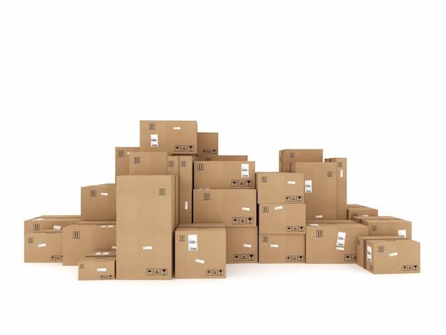 Geschlossene pappkartons und mit klebstoff umwickelt