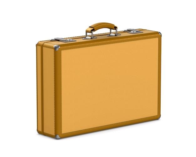 Geschlossene reisetasche auf weißem raum